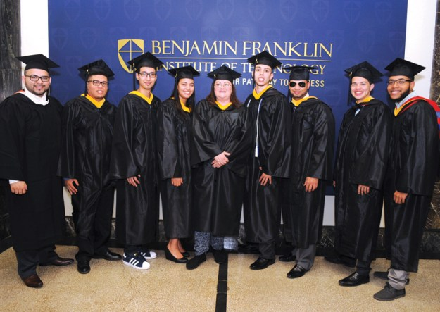 Proud Latino Grads: Marvin Casasola, BFIT Admissions Recruiter, Elias Lopez Jr., Biomedical Engineering Technology, Anthony Hernandez, Automotive Technology, Gregoria Ruiz, Health Information Technology, Rosalyn Parrilla, Health Information Technology, Kenny Rodriguez, Automotive Technology, Magna Cum Laude, Evel Almonte, Mechanical Engineering Technology, Anderson Centeno, Computer Technology, Kenny Casado, Computer Technology.