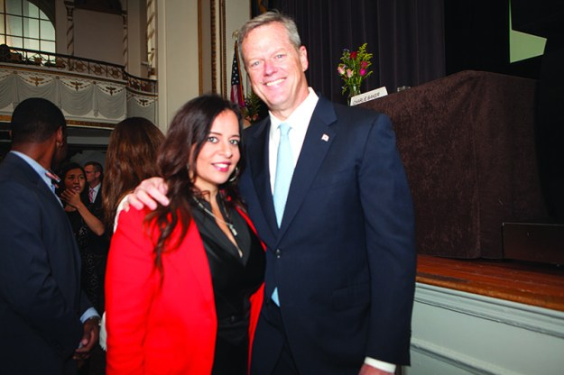 María Vasallo, Senior Manager, Marketing, Communications and Public Relations of Cambridge College with Governor Charlie Baker.