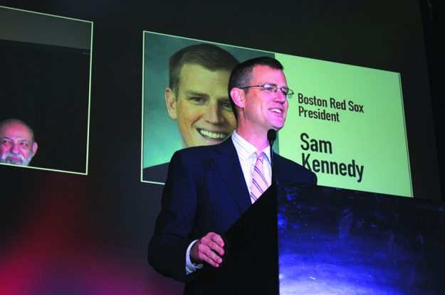 ➥➥ Addressing the audience President of the Boston Red Sox, Sam Kennedy.