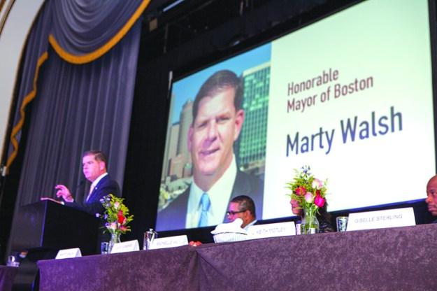 Mayor of Boston Marty J. Walsh having a blast during the El Mundo Hispanic Heritage Breakfast.