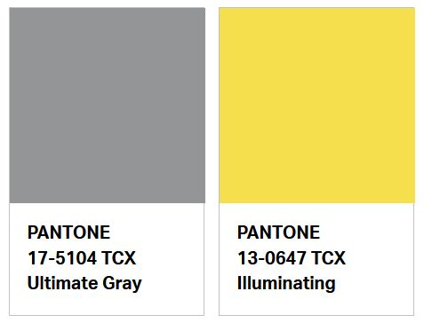 Color del Año PANTONE 2021 - PANTONE 17-5104 TCX Ultimate Gray - PANTONE 13-0647 Illuminating