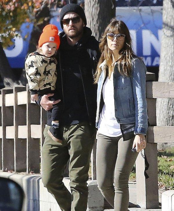 Jessica Biel y Justin Timberlake con su hijo Silas