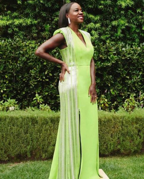 Viola Davis en un vestido Louis Vuitton.