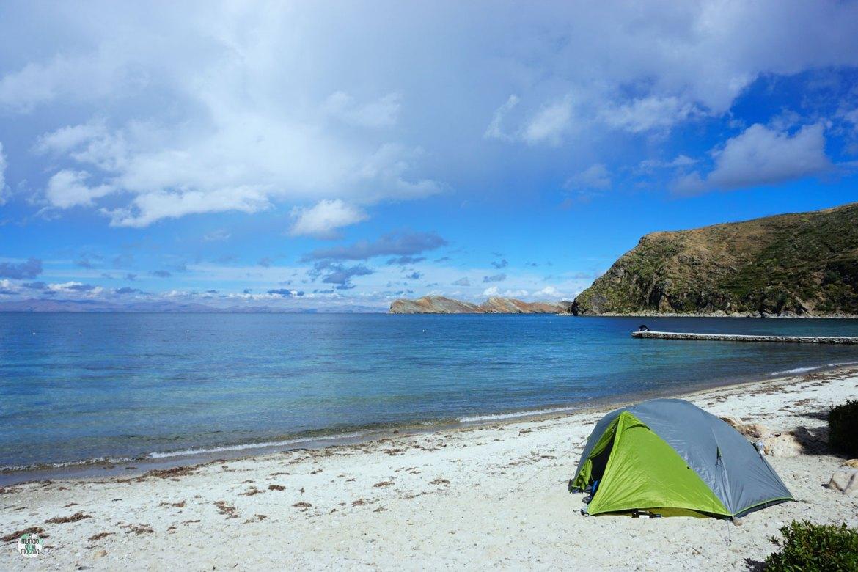 Nuestra carpa, la Kelty TN2, a orillas del Titicaca, en la Isla del Sol. La tienda de campaña para mochileros número 1!