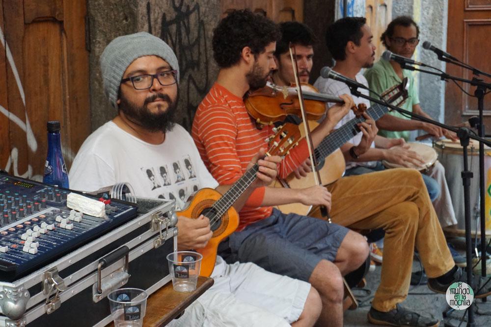 Músicos callejeros en Rio de Janeiro