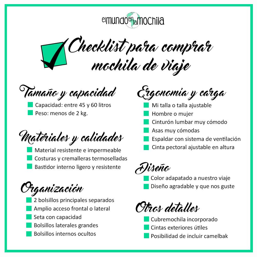 Checklist para comprar una mochila de viaje elmundoenlamochila.com