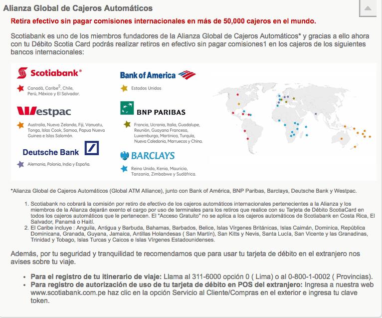 Viajar a Peru Scotiabank y la Alianza Global de Cajeros Automaticos.