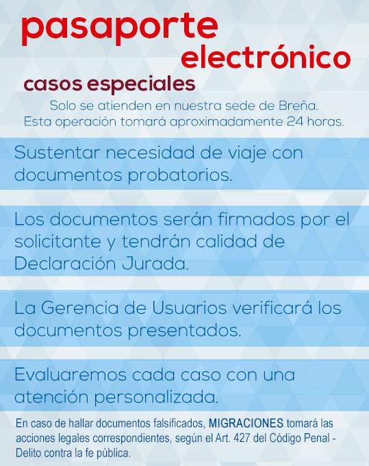 Casos especiales para pasaporte electrónico peruano en Lima.