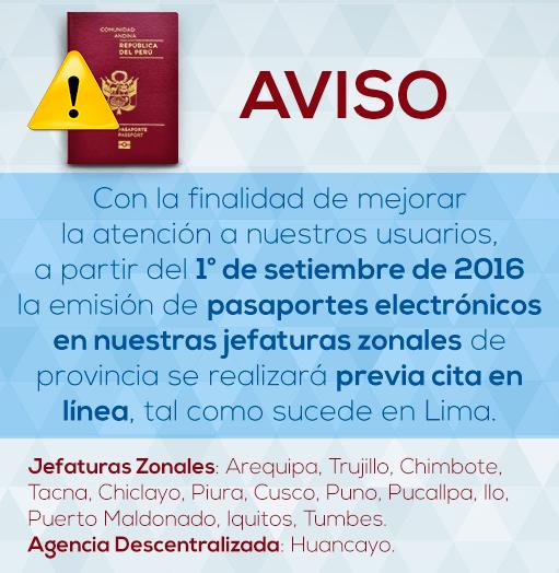 Citas para pasaporte electrónico peruano tanto en Lima y Provincias.