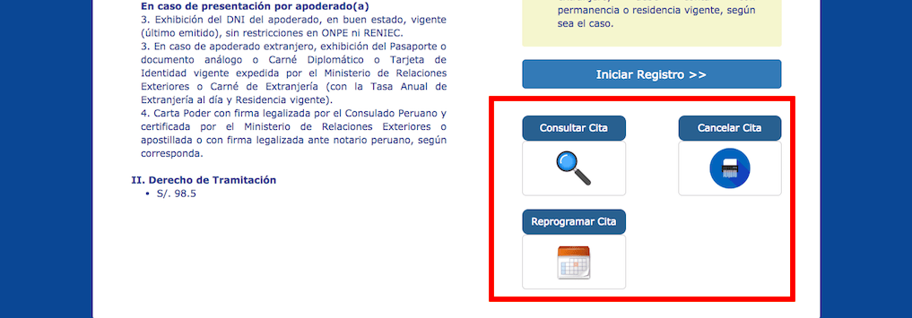 Consultar, Cancelar o Reprogramar tu cita para pasaporte peruano.