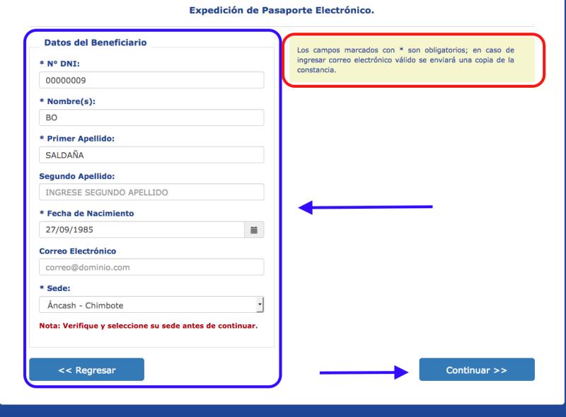 Paso 2: Datos del Beneficiario para obtener el pasaporte electrónico peruano.