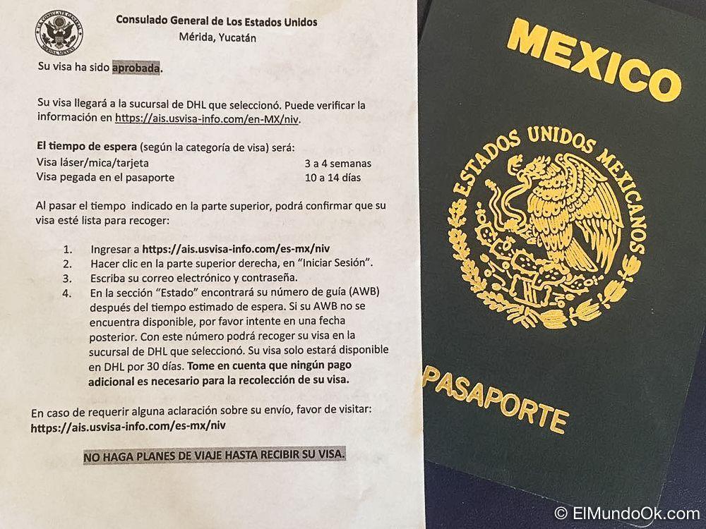 Su Visa americana de turista ha sido aprobada para un pasaporte mexicano.