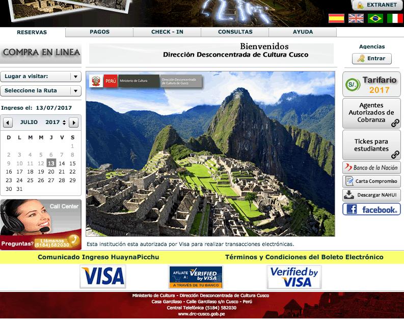 Web oficial para comprar los tickets a Machu Picchu.