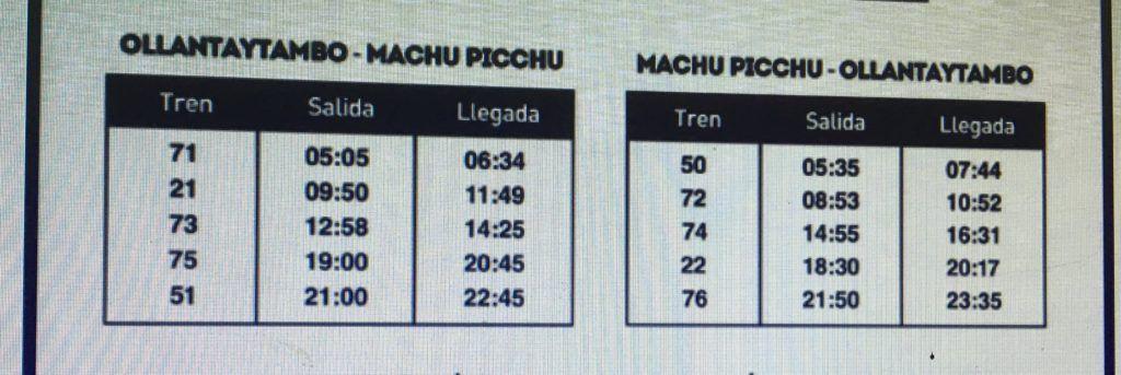 Horarios del tren local a Machu Picchu Pueblo desde Ollantaytambo, vigentes al 2017