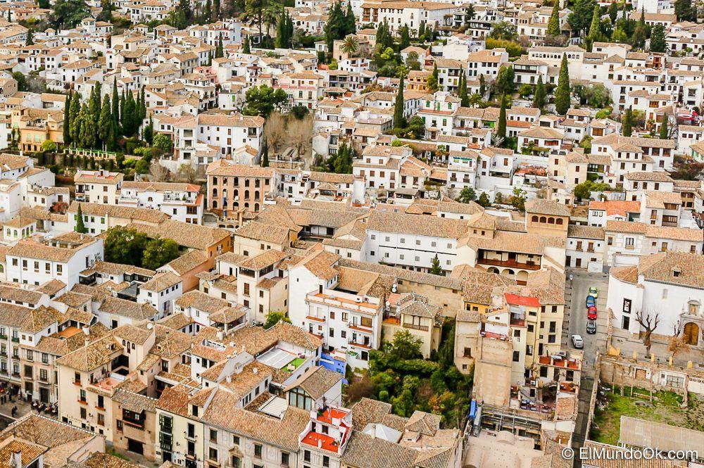 Zona de Albaicín desde la Alhambra en Granada.