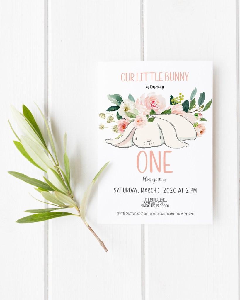 cute bunny birthday invitations