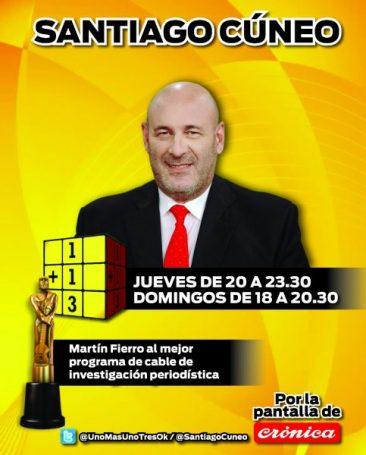 Santiago Cuneo está los jueves y domingos en Crónica TV