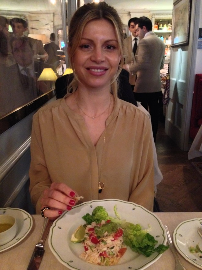 My beautiful friend Ines with her started - a crab salad.