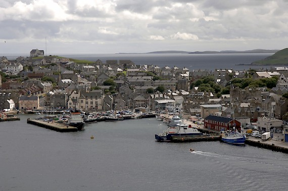 An aerial view of Lerwick