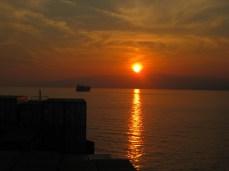 Atardecer, fondeados en el Golfo de Génova.