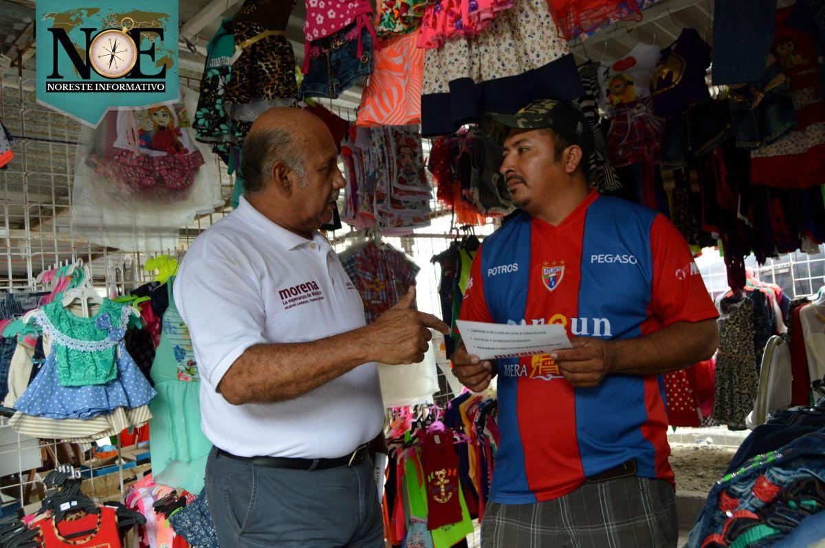 Visitan candidatos de Morena Nuevo Laredo la pulga de Los Rieles