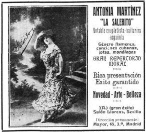 Publicidad de una actuación de La Salerito
