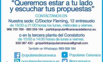 Diputados regionales visitarán periódicamente la sede del PP en Caravaca para recabar sugerencias y propuestas de los vecinos