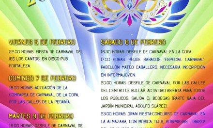 La Fiesta en Bullas de Carnaval del sábado arrancará con un gran desfile