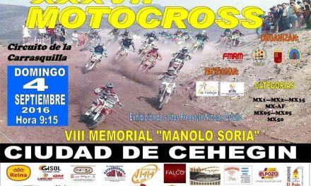 La Carrasquilla volverá a acoger el 4 de septiembre el Motocross 'Ciudad de Cehegín'