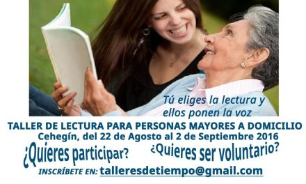 """Las Concejalías de Cultura y Servicios Sociales de Cehegín colaboran en el proyecto """"Tiempo de leer y acompañar"""""""