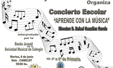Concierto Escolar de la Banda Juvenil de la Sociedad Musical de Cehegín el martes 6