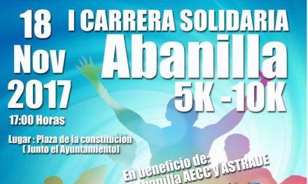 El próximo 18 de noviembre tendrá lugar la «I Carrera Solidaria Abanilla» en beneficio de la AECC y Astrade