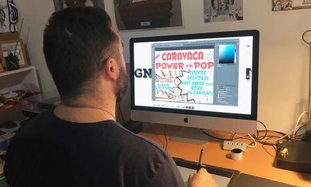 """""""Para este cartel me he fijado sobre todo en la estética vintage, en la cartelería antigua"""", David López, autor de la cartelera de Caravaca Power Pop"""