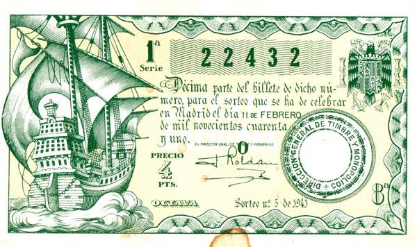 Billete de lotería de 1941