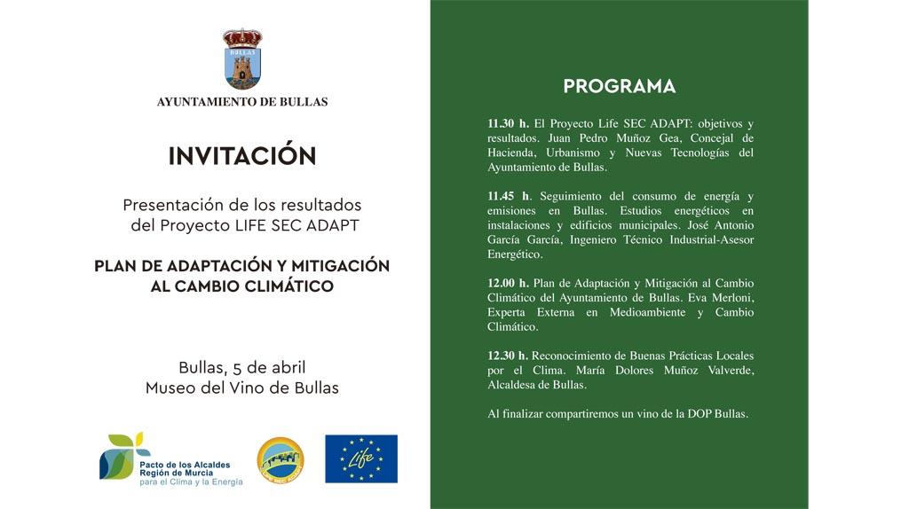 Bullas presenta los resultados del Proyecto Life SEC ADAPT