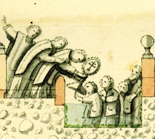Ceremonia del baño de la Cruz en 1762