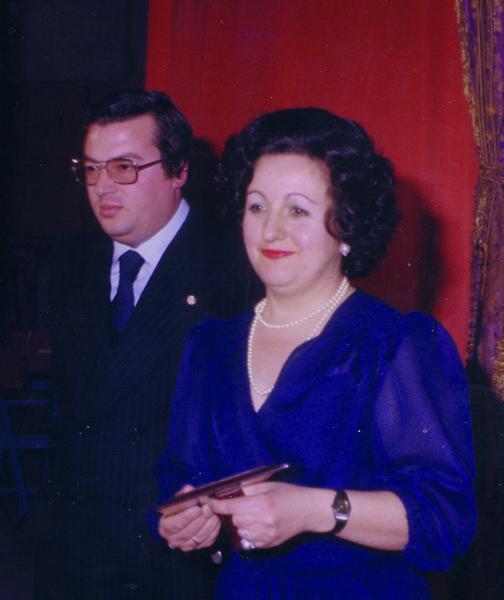 Con Ángel Luis Peñalver, cofrade de honro del Santísimo Cristo del Sepulcro, en 1979