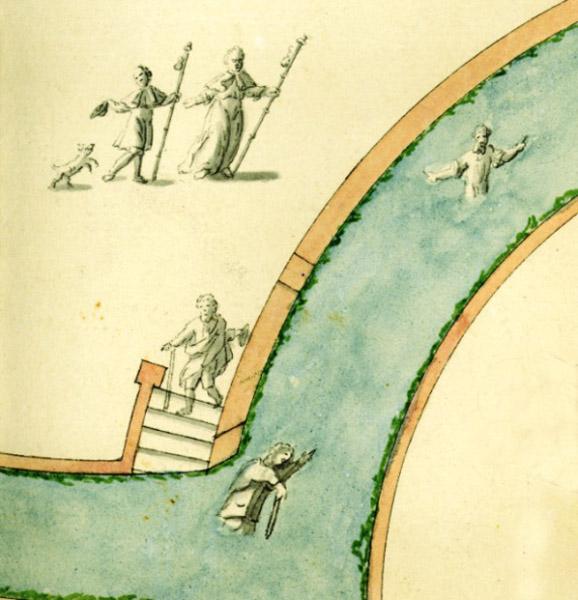 Peregrinos y fieles introduciendose en el agua tras la ceremonia del baño en 1762