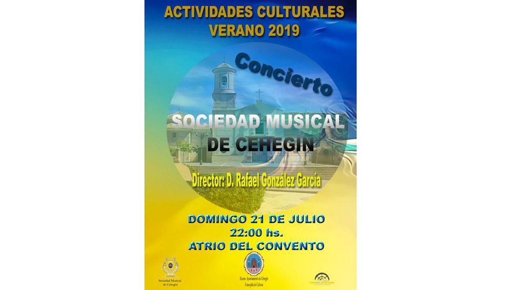 La Sociedad Musical de Cehegín ofrecerá su tradicional concierto de verano