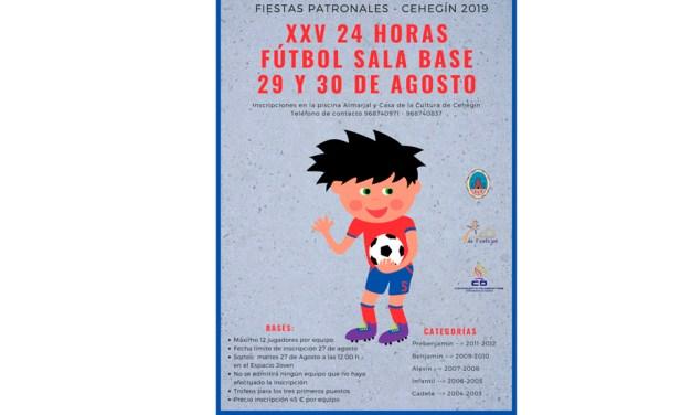 Las XXV 24 Horas de Fútbol Sala Base de Cehegín se disputarán los días 29 y 30 de agosto
