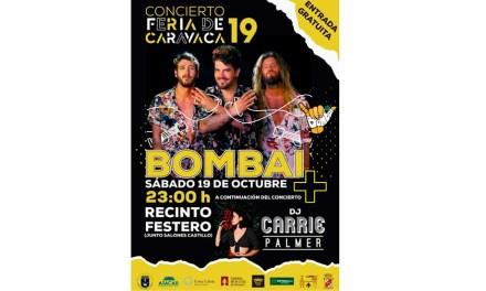 El grupo valenciano 'Bombai' y la DJ Carrie Palmer actuarán el sábado 19 de octubre en la Feria de Caravaca de la Cruz