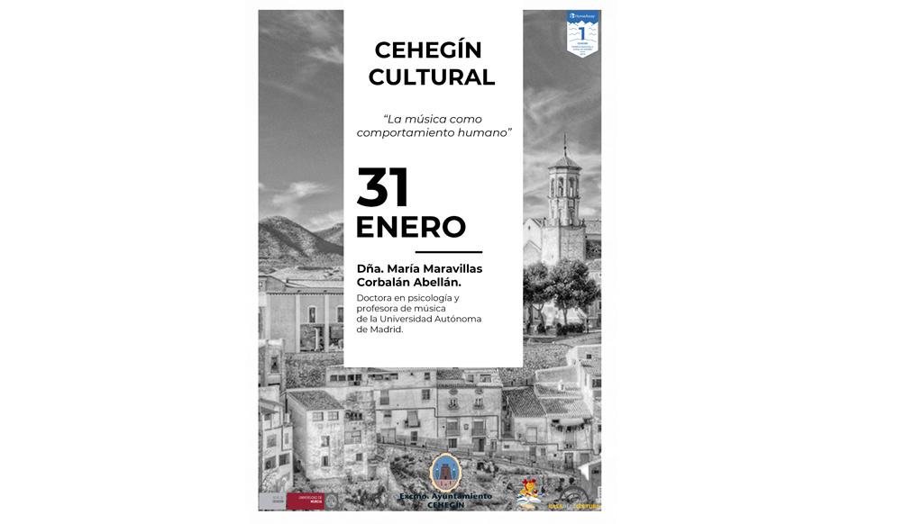 """La conferencia """"La música como comportamiento humano"""" abre este vienes el ciclo  """"Cehegín Cultural"""""""