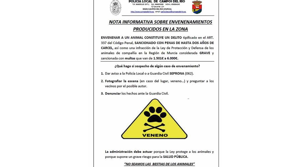 Ayuntamiento de Campos del Río y Policía trabajarán frente al envenenamiento animal