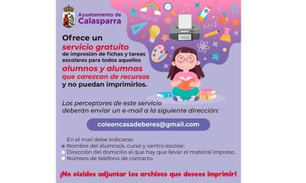 Iniciativa del Ayuntamiento de Calasparra para que ningún niño se quede sin poder hacer los deberes