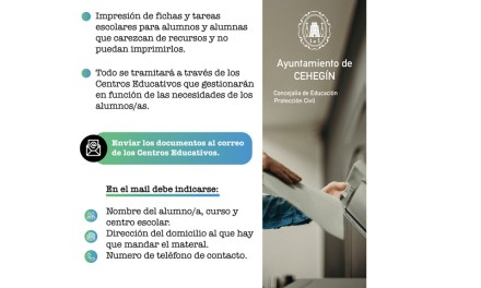 El Ayuntamiento de Cehegín ofrece un servicio gratuito de impresión de tareas escolares para los alumnos del municipio sin recursos