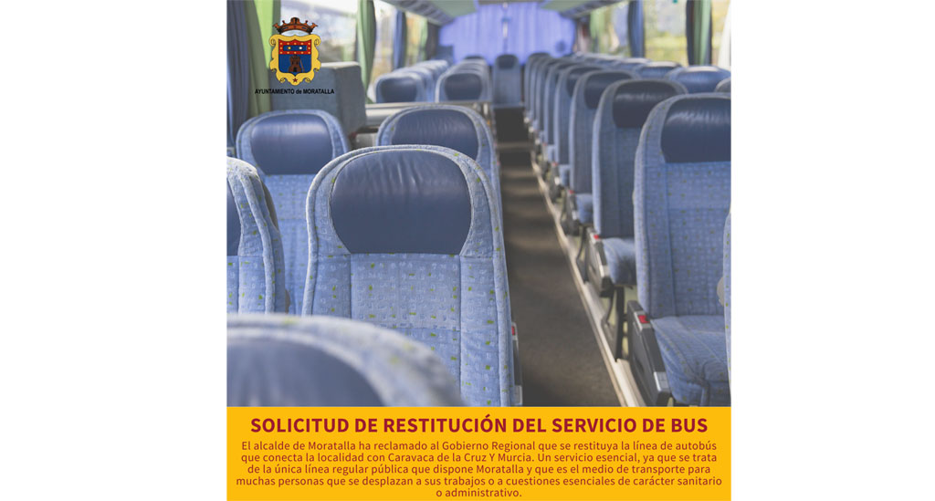El Alcalde de Moratalla reclama al Gobierno Regional que restituya la línea de autobús entre Moratalla, Caravaca y Murcia