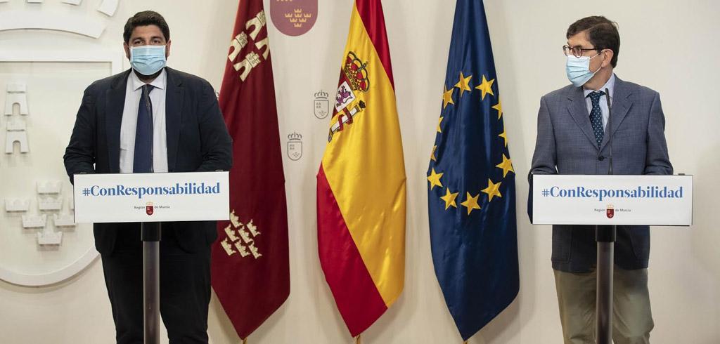 """El uso de mascarilla ya es obligatorio en todo espacio público abierto o cerrado de la Región de Murcia """"haya o no distancia de seguridad"""""""