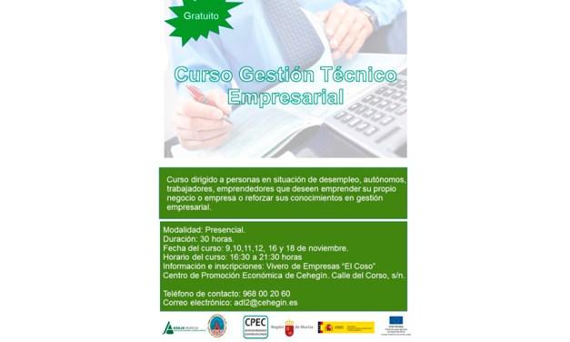 La Concejalía de Desarrollo Local de Cehegín pone en marcha el curso «Gestión Técnico Empresarial»