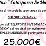 El Colectivo Calasparra se Mueve hace entrega de 25.000€ a la Unidad de Investigación Oncológica del Hospital General Universitario Morales Meseguer
