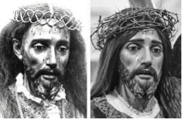 Comparativa entre fotos del Nazareno de Bullas, izquierda, con foto actual del Nazareno de las MM Capuchinas. Evidenciándose que se trata de la misma talla. La foto de la izquierda procede de un cliché fotográfico realizado en el año 1903 en Bullas. (Arch. B. Amor) Fotografía de la derecha a la actualidad.